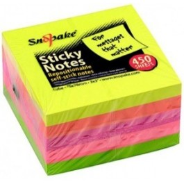 Adhesive Note Cube 3x3 Neon