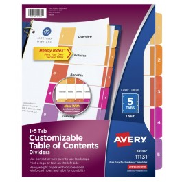 avery dividers 1 5