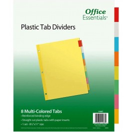 Office Essentials plastic tab dividers